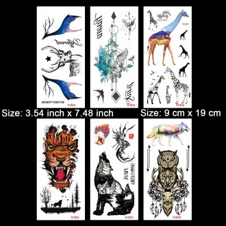 Kotbs 6 Sheets Large Animal Temporary Tattoo Waterproof Tattoo Sticker for women men Body Art Makeup Fake Tattoos (Deer, Giraffe, Wolf, Tiger)