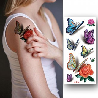 028cd7397aab4 Kotbs 12 Sheets Bright 3d Temporary Tattoos for Women Teens Girls  Waterproof Sexy Rose Temporary Floral ...