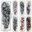 Kotbs 6 Sheets Full Arm Temporary Tattoo Waterproof Extra Large Temporary Tattoos Black Skull Rose Tattoo Body Stickers for Man Women Fake Tattoo