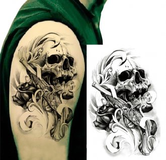 Big Size Skull Gun Temporary Tattoos Body Art Tattoo Sticker Fake Tattoo Cool