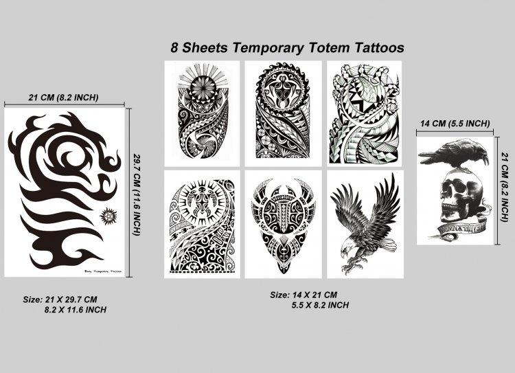 Kotbs 8 Sheets Temporary Tattoo For Men Women Waterproof