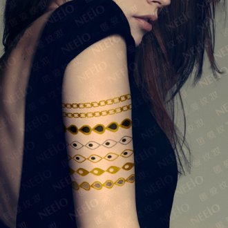 Flash Tattoo Gold Silver Metallic Temporary Tattoos Fake Jewelry Inspired