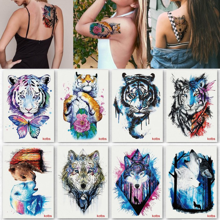 11d6dabddc2f6 Kotbs 8 Sheets Large Rose Temporary Tattoo Waterproof Sexy Bright Tattoo  Sticker for Women Body Art Makeup Temporary Floral Tattoos Fake Tattoo