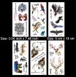 Kotbs 6 Sheets Large Animal Temporary Tattoo Waterproof Tattoo Sticker for women men Body Art Makeup Fake Tattoos (Tiger, Bird, Deer, Bear)