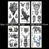 Kotbs 6 Sheets Large Animal Temporary Tattoo Waterproof Tattoo Sticker for women men Body Art Makeup Fake Tattoos (Eagle, Panda, Elephant, Tiger)