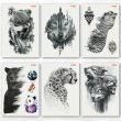 Kotbs 6 Sheets Large Temporary Tattoo Black Strong Wolf Tiger Tattoo Sticker for Men Women Guys Waterproof Body Art Makeup Fake Tattoos